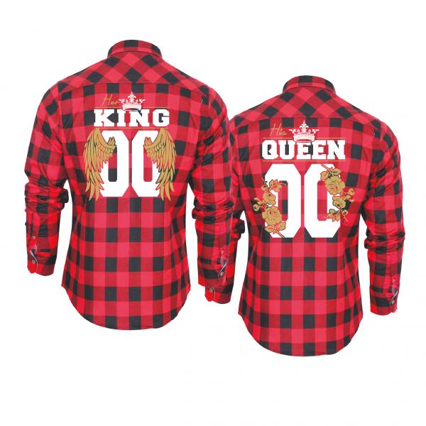 King & Queen Angel flower hemden